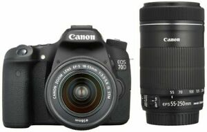 CANON EOS 80D 24.2MP DIGITAL SLR CAMERA   BLACK  KIT W/ EF S 18 55MM AND 55 250