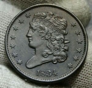 1834 CLASSIC HEAD HALF CENT   NICE COIN    ONLY 103 000 MINTED  9488