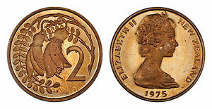 NEW ZEALAND 2 CENTS 1975  PROOF   ONLY 10 000 MINTED