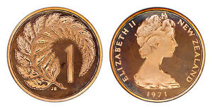 NEW ZEALAND 1 CENT 1971  PROOF   ONLY 5 000 MINTED