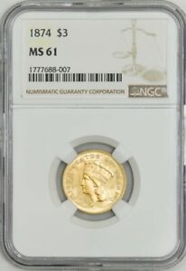 1874 $3 GOLD INDIAN MS61 NGC 943027 5