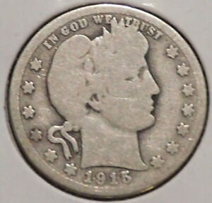BARBER QUARTER   1915 D   HISTORIC SILVER    $1 UNLIMITED SHIPPING.
