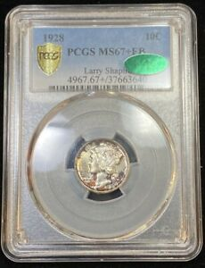 Click now to see the BUY IT NOW Price! 1928 10C MERCURY DIME PCGS GREEN CAC MS67 FB RAINBOW TONED POP 8/2 SILVER RAR