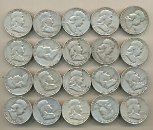 ROLL 1951 S FRANKLIN HALF DOLLARS   20 SILVER COINS 1951 S