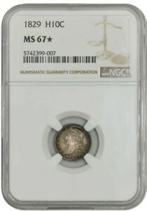 Click now to see the BUY IT NOW Price! 1829 CAPPED BUST HALF DIME H10C MS67  NGC 942722 3