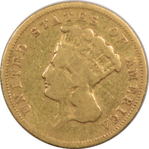 1856 S $3 GOLD PRINCESS CIRCULATED EXAMPLE TOUGH DATE JUST HONEST WEAR