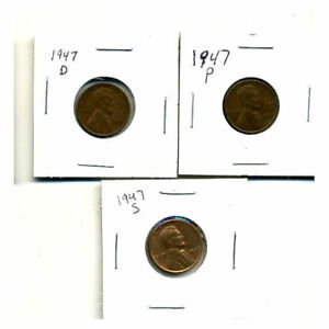 1947 P D S WHEAT PENNIES LINCOLN CENTS CIRCULATED 2X2 FLIPS 3 COIN PDS SET3004