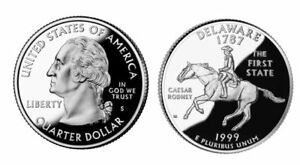1999 S GEM BU PROOF DELAWARE STATE QUARTER BRILLIANT UNCIRCULATED COIN PF