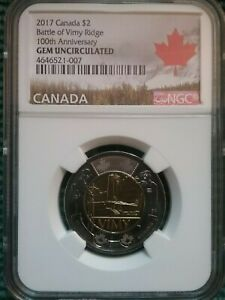 2017 CANADA $2 BATTLE OF VIMY RIDGE NGC GEM UNCIRCULATED