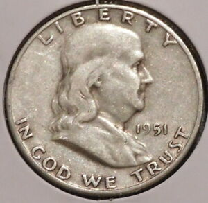 FRANKLIN HALF DOLLAR   1951 S   OVERSTOCK SALE    $1 UNLIMITED SHIPPING  001