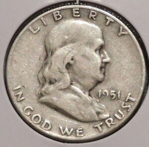FRANKLIN HALF DOLLAR   1951 S   OVERSTOCK SALE    $1 UNLIMITED SHIPPING  003