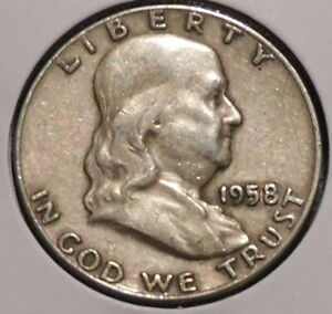 FRANKLIN HALF DOLLAR   1958 D   OVERSTOCK SALE    $1 UNLIMITED SHIPPING  008