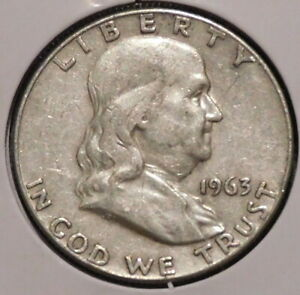 FRANKLIN HALF DOLLAR   1963 D   OVERSTOCK SALE    $1 UNLIMITED SHIPPING  011
