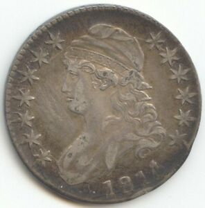 1814/3 CAPPED BUST HALF DOLLAR VF XF DETAILS OVERDATE