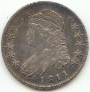 1811 CAPPED BUST HALF DOLLAR LUSTROUS XF