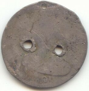 1801 DRAPED BUST DIME LOW GRADE 3 HOLES BUTTON OR SPINNER