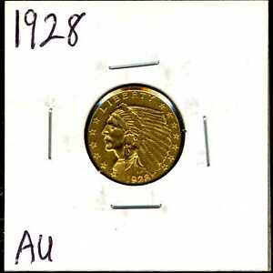 1928 $2.5 GOLD INDIAN HEAD QUARTER EAGLE IN AU CONDITION