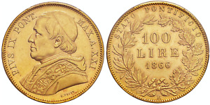 Click now to see the BUY IT NOW Price! 1866 R ANNO XXI ITALY PIUS IX GOLD 100 LIRE PCGS MS63