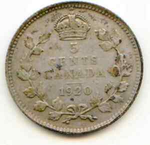 CANADA 5 CENTS SILVER 1920  LOTAUG7165
