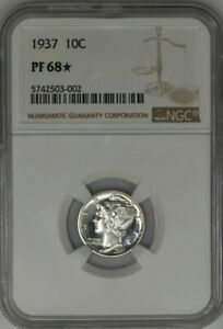 Click now to see the BUY IT NOW Price! 1937 MERCURY DIME 10C PF68  PR68  NGC 942131 2