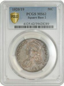 Click now to see the BUY IT NOW Price! 1820/19 CAPPED BUST HALF 50C SQUARE BASE 2 O 101A R.3 MS62 PCGS SECURE 942085 1