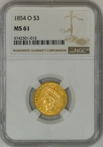 Click now to see the BUY IT NOW Price! 1854 O $3 GOLD INDIAN MS61 NGC 942595 3