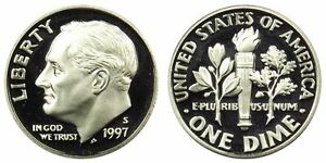 1997 S GEM BU PROOF ROOSEVELT DIME 10 CENT BRILLIANT UNCIRCULATED US COIN PF
