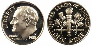 1988 S GEM BU PROOF ROOSEVELT DIME 10 CENT BRILLIANT UNCIRCULATED US COIN PF