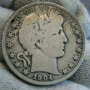 1904S BARBER HALF DOLLAR 50 CENTS   HARD TO FIND KEY DATE 553 038 MINTED  9689
