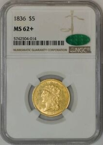 1836 $5 GOLD CLASSIC HEAD MS62  NGC CAC 942660 7