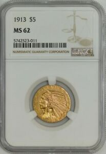 1913 $5 GOLD INDIAN MS62 NGC 943075 7