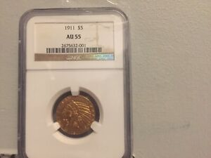 1911 INDIAN HEAD HALF EAGLE GOLD $5 AU 55 NGC