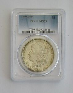 Click now to see the BUY IT NOW Price! 1878 CC MORGAN SILVER DOLLAR  PCGS GRADED MS 63  FIRST YEAR OF ISSUE   L41