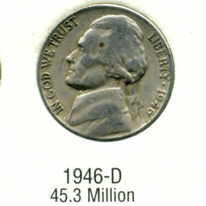 1946 D JEFFERSON NICKEL   US AMERICAN OLD NCIE 5 CENT COINFIVE A3508