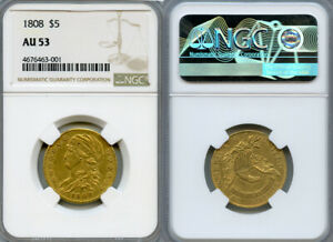 1808 $5 GOLD COIN NGC AU53