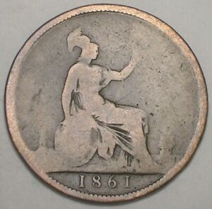 1861 UK GREAT BRITAIN BRITISH ONE 1 PENNY VICTORIA CIVIL WAR ERA COIN