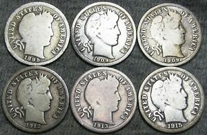 1895 S 1909 D 1909 O 1912 S 1913 S 1915 S BARBER DIME SILVER LOT     F774