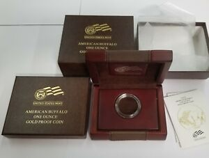 NO COIN  2009 AMERICAN BUFFALO 1OZ $50 GOLD PROOF WOOD LEATHER BOX W/ CAP & COA