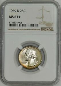 Click now to see the BUY IT NOW Price! 1959 D WASHINGTON QUARTER 25C MS67  NGC 942320 3