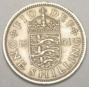 1961 UK BRITAIN BRITISH ONE 1 SHILLING LIONS SHIELD COIN VF