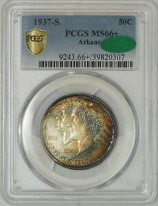 Click now to see the BUY IT NOW Price! 1937 S ARKANSAS HALF 50C MS66  PCGS SECURE CAC 942522 8   COLOR