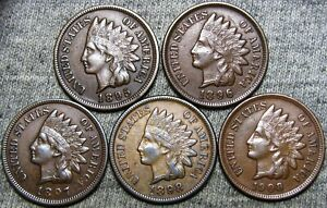 1895 1896 1897 1898 1908 INDIAN CENT PENNY      NICE LOT     D438