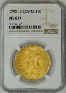 Click now to see the BUY IT NOW Price! 1795 $10 GOLD CAPPED BUST 13 LEAVES MS62  NGC 942132 12