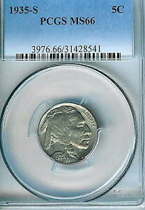 1935 S BUFFALO NICKEL : PCGS MS66 BLAZING WHITE