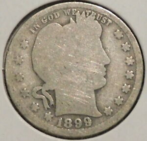 BARBER QUARTER   1899   HISTORIC SILVER    $1 UNLIMITED SHIPPING.