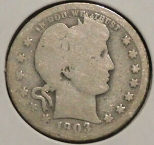 BARBER QUARTER   1903   HISTORIC SILVER    $1 UNLIMITED SHIPPING.