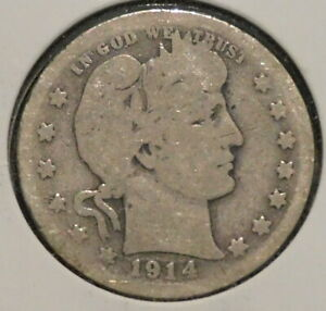 BARBER QUARTER   1914   HISTORIC SILVER    $1 UNLIMITED SHIPPING.