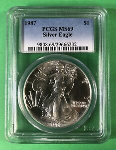 1987 AMERICAN SILVER EAGLE PCGS MS69. SECOND YEAR