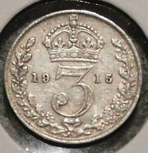BRITISH SILVER THREEPENCE   1915   KING GEORGE V   $1 UNLIMITED SHIPPING