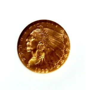 1929 $2.50 INDIAN HEAD GOLD QUARTER EAGLE MS63 NGC CERTIFIED